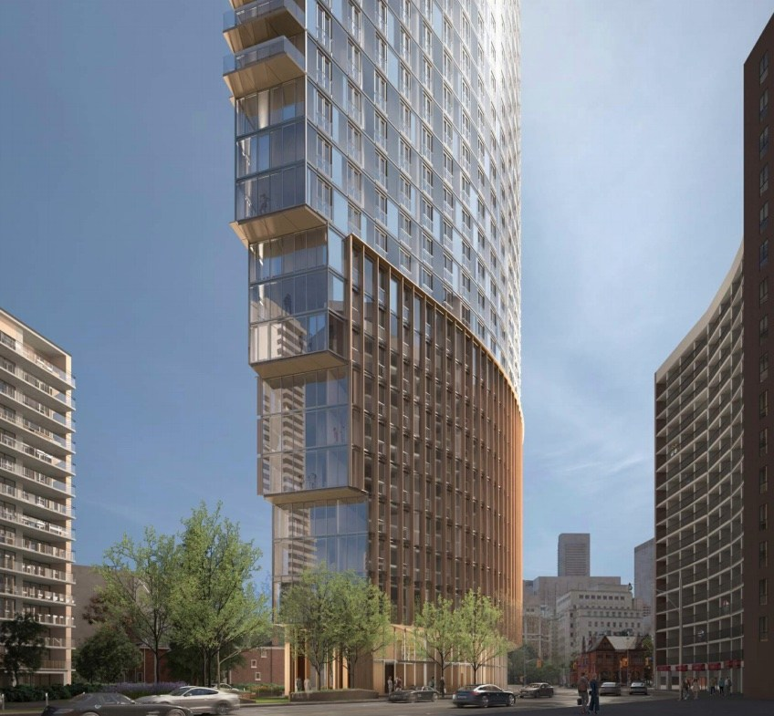 Exterior rendering of 717 Church Street Condos curved detailing