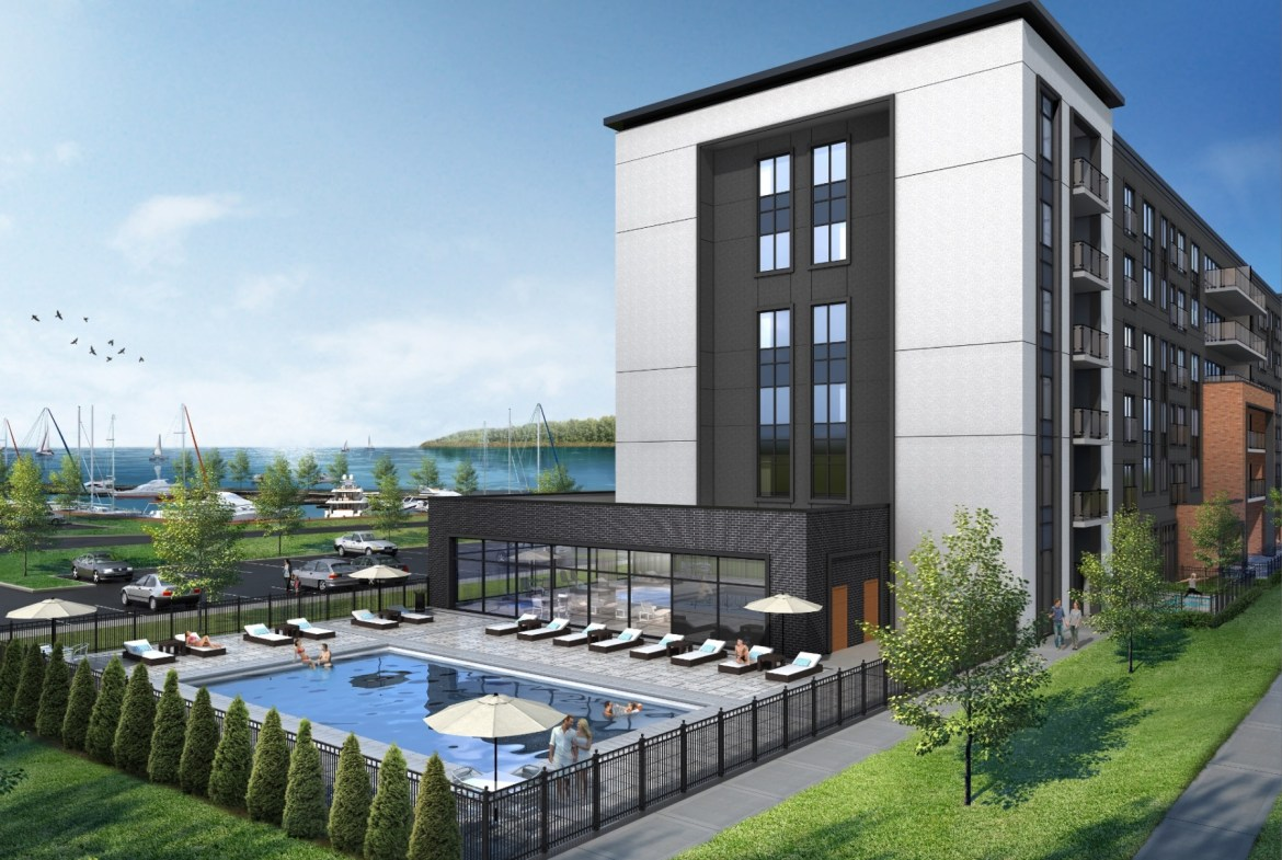 Exterior rendering of Bay Port Resort Condos with swimming pool