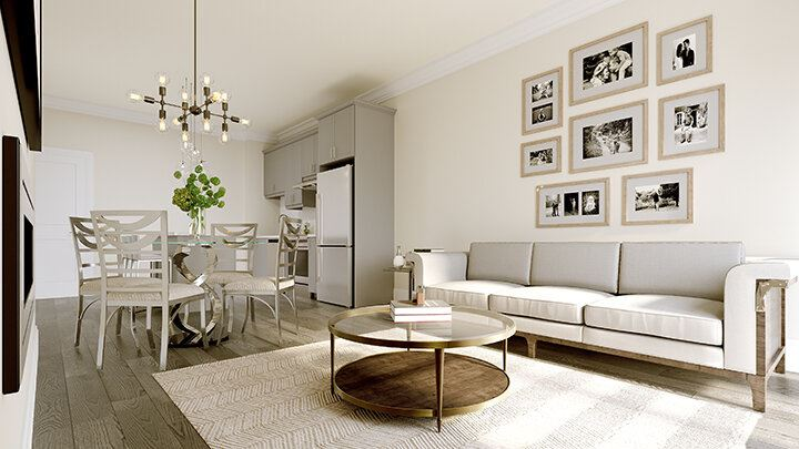 Rendering of Montebello Condos interior open-concept living, dining and kitchen