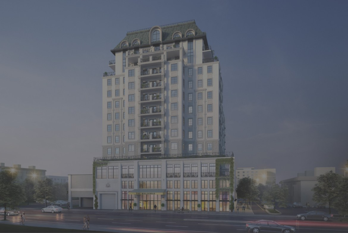 Rendering of The Waldemar Condos full exterior with grey overlay