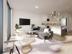 Rendering of Nuvo 2 suite living room