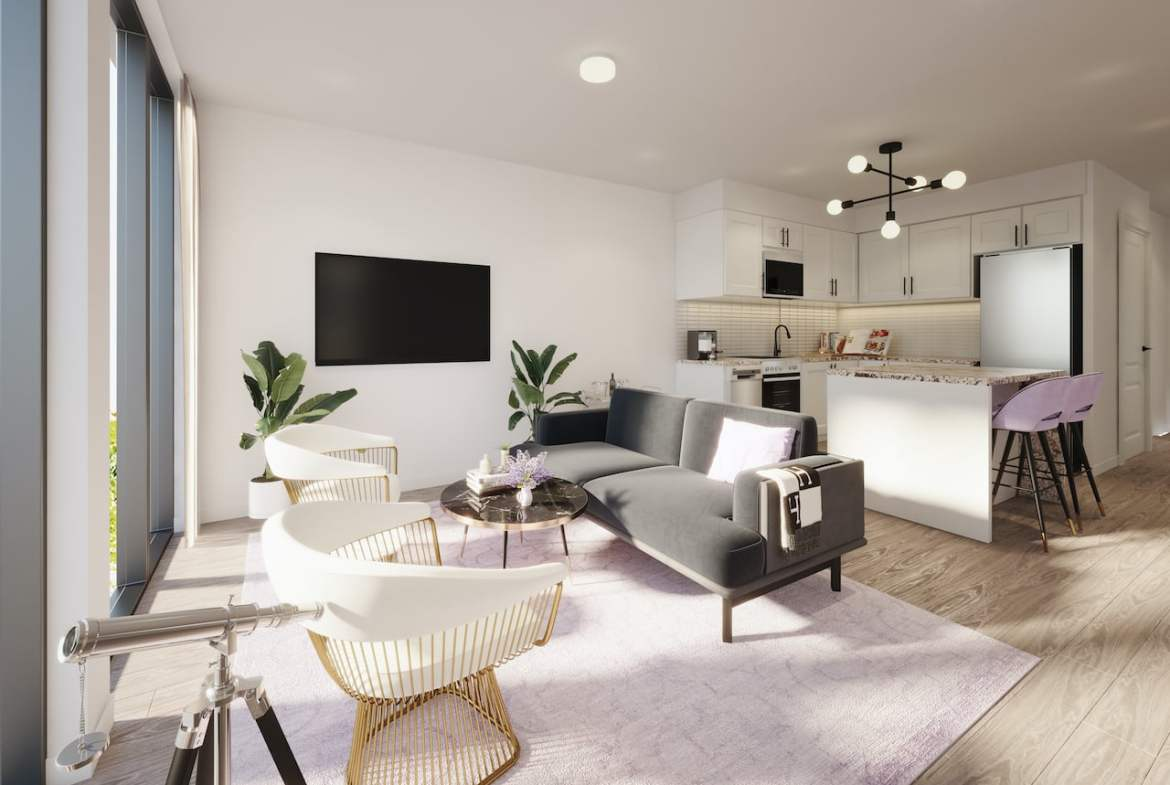 Rendering of Nuvo 2 suite living room