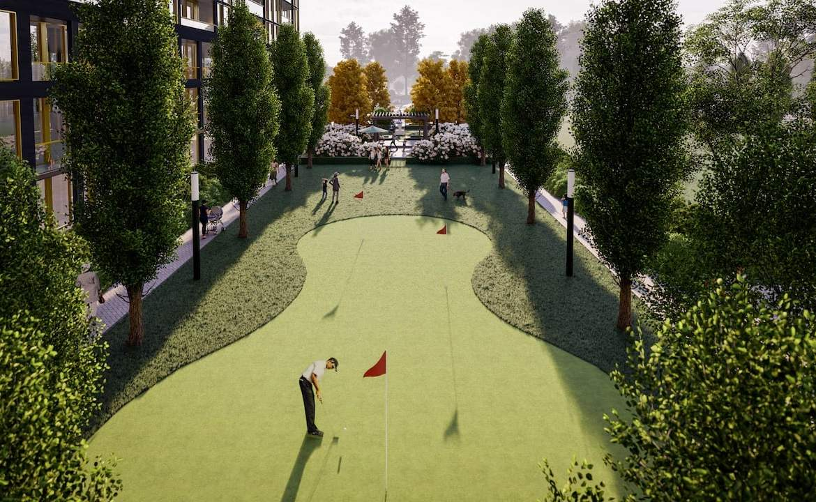 Rendering of Nuvo 2 Condos golf putting green