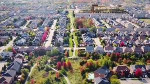 Rendering of Nuvo 2 Condos neighbourhood aerial Oakville