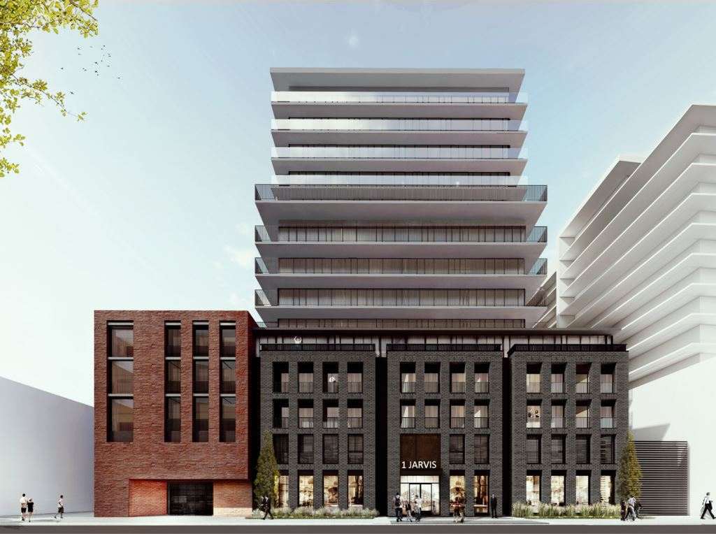 Rendering of 1 Jarvis Street Condos exterior front view with streetscape