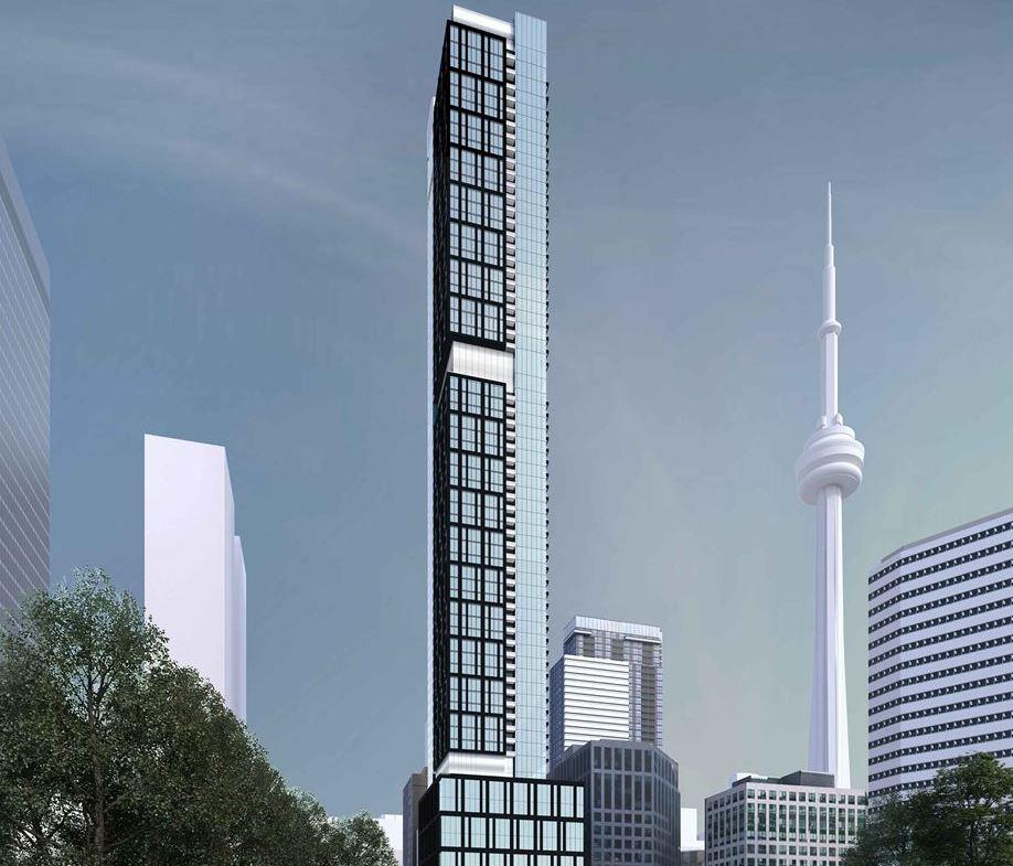 Exterior rendering of 277 Wellington Street West Condos in Toronto full view