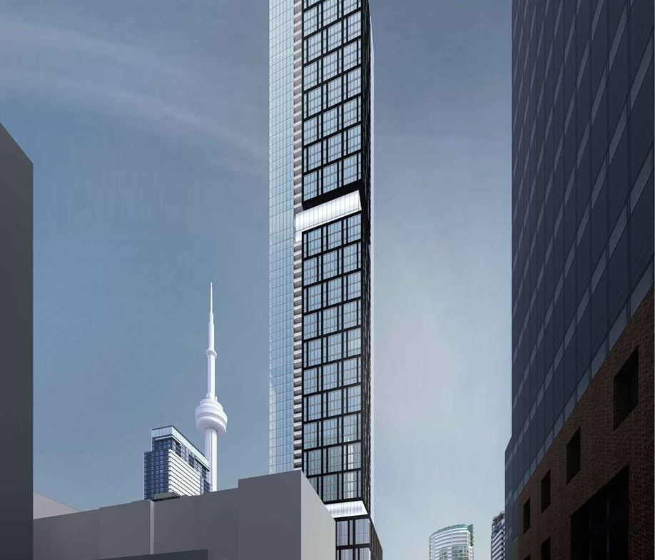 Exterior rendering of 277 Wellington Street West Condos in Toronto side view