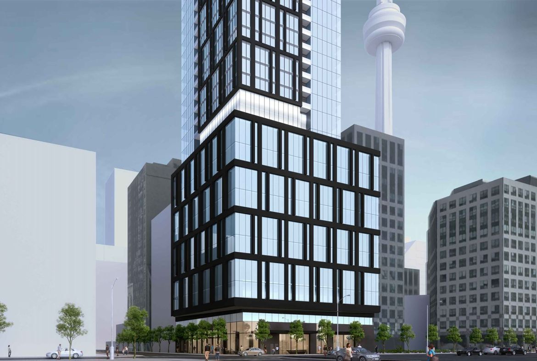 Exterior rendering of 277 Wellington Street West Condos in Toronto podium