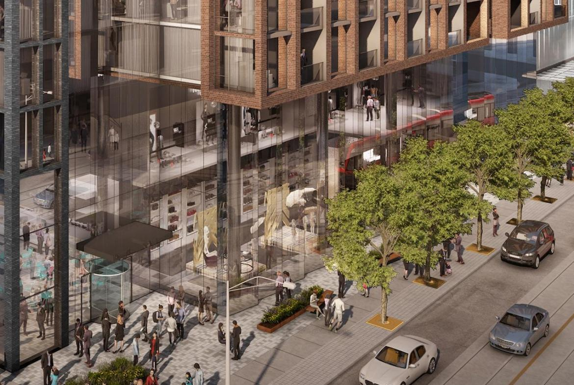 Rendering of 400 King West Condos exterior and streetview