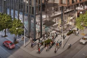 Rendering of 400 King West Condos exterior aerial streetview