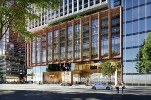 Rendering of 400 King West Condos exterior podium with Toronto street view