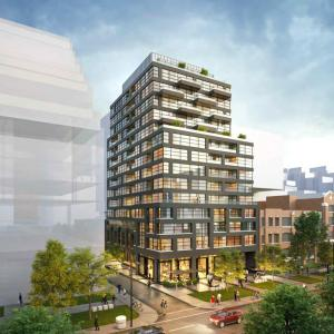 Rendering of 485 Wellington Street West Condos exterior full view during the day
