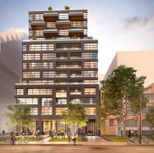 Rendering of 485 Wellington Street West Condos exterior full view at night