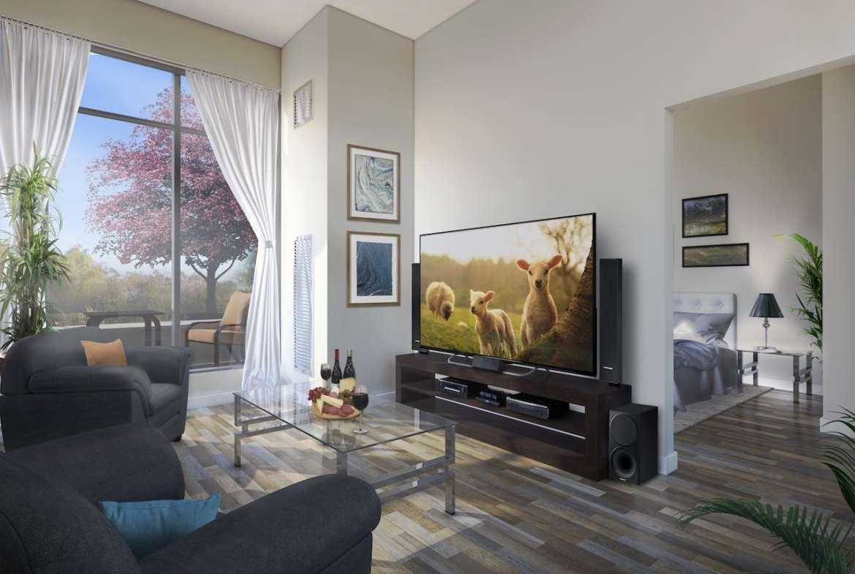 Rendering of Upper Vista Welland suite living room
