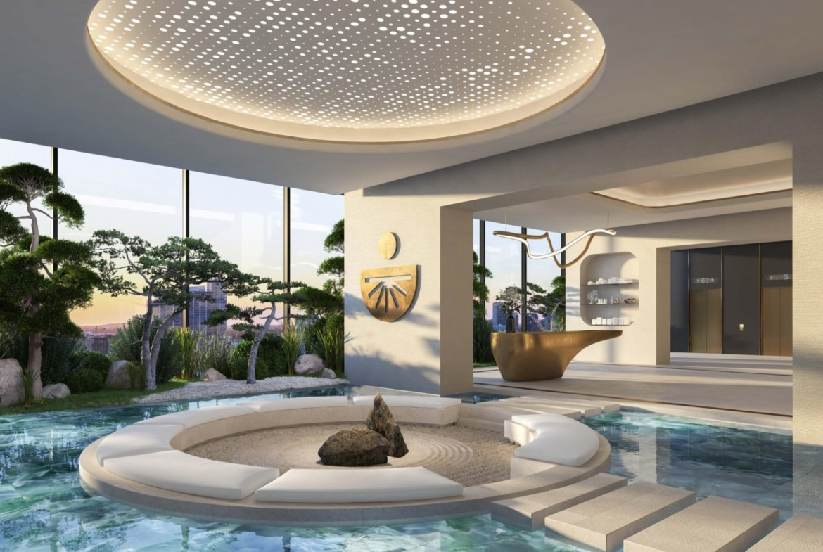 Rendering of E11even Hotel and Residences pool with spa
