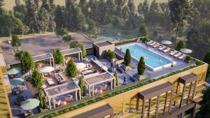 Rendering of Nuvo 2 Condos rooftop amenity space with outdoor swimming pool