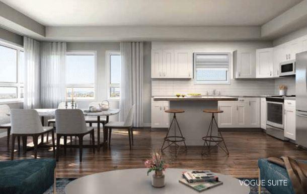 Rendering of One Twenty Condos open-concept suite interior