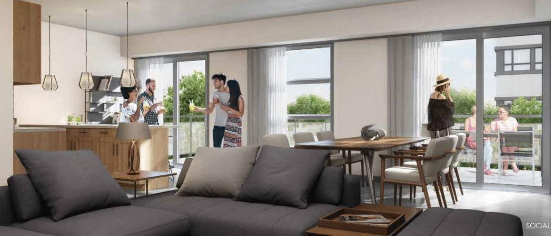 Rendering of One Twenty Condos suite living room