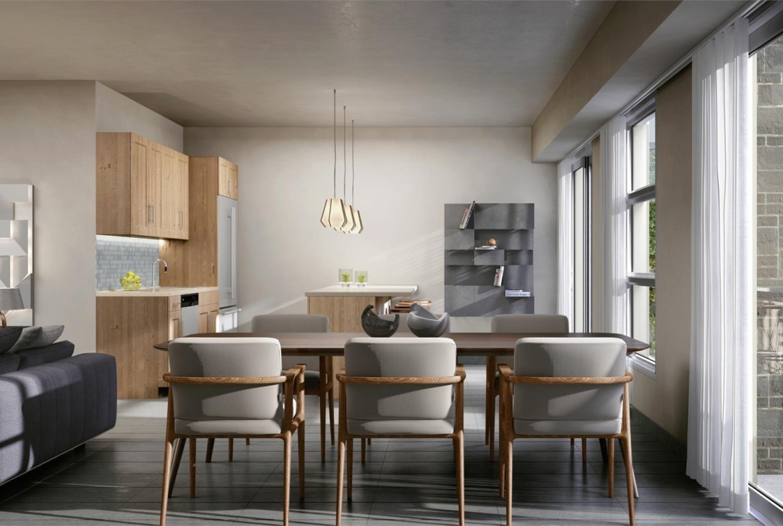 Rendering of One Twenty Condos suite dining room