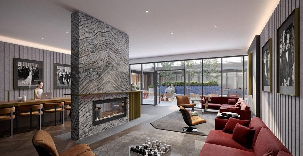 Rendering of Oscar Residences fireplace lounge