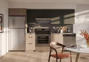 Rendering of Realm Condos suite kitchen light dark standard