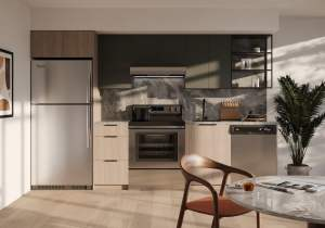 Rendering of Realm Condos suite kitchen light dark upgraded