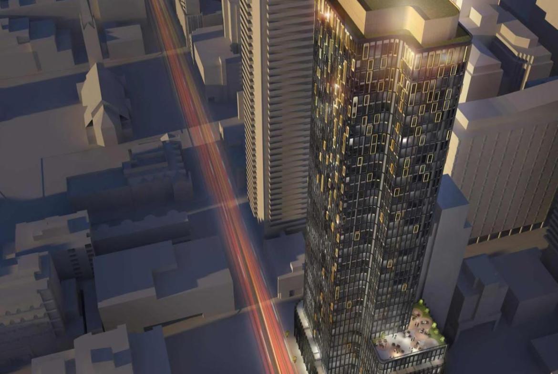 Aerial rendering of 120 Church Condos in Toronto