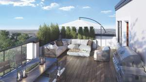 Rendering of The Crawford Urban Towns suite private roof top terrace