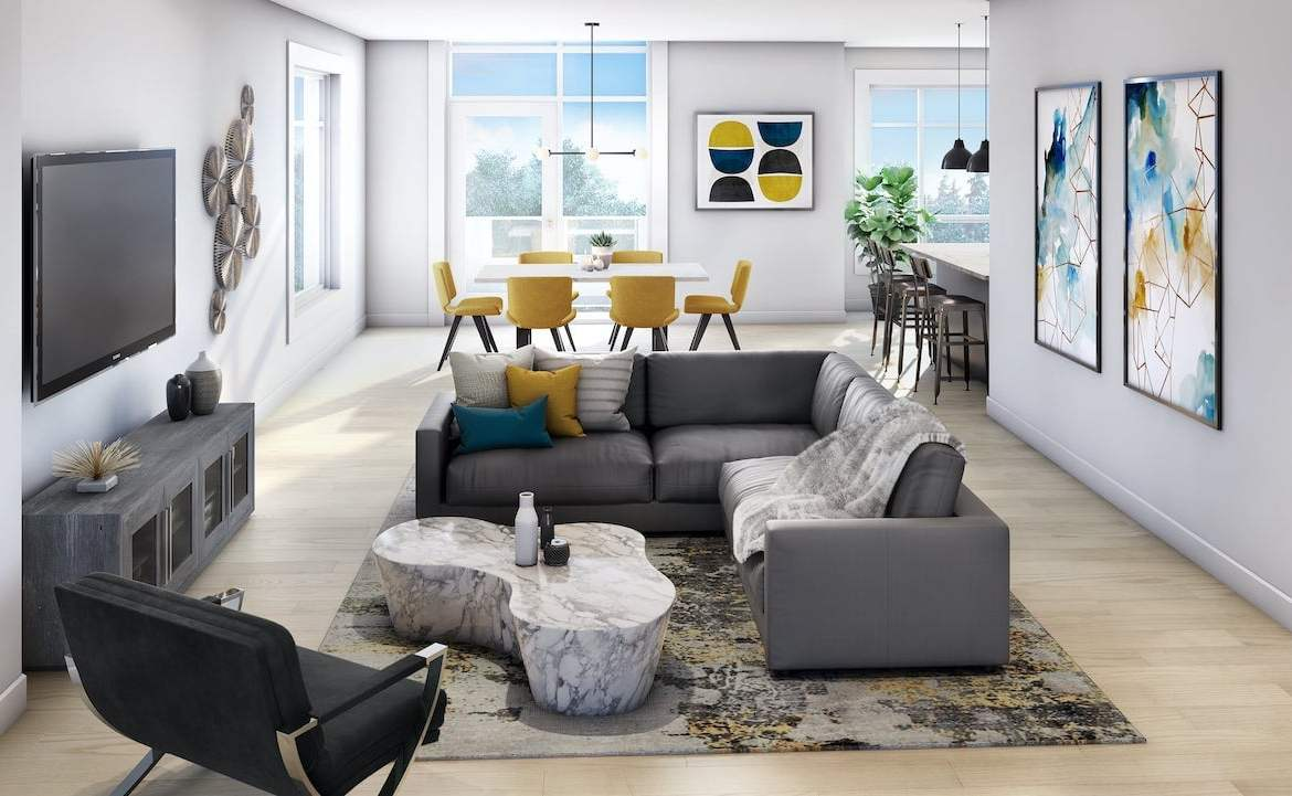 Rendering of The Crawford Urban Towns suite Thompson interior
