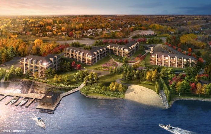 Rendering of Crescent Bay Condos aerial view