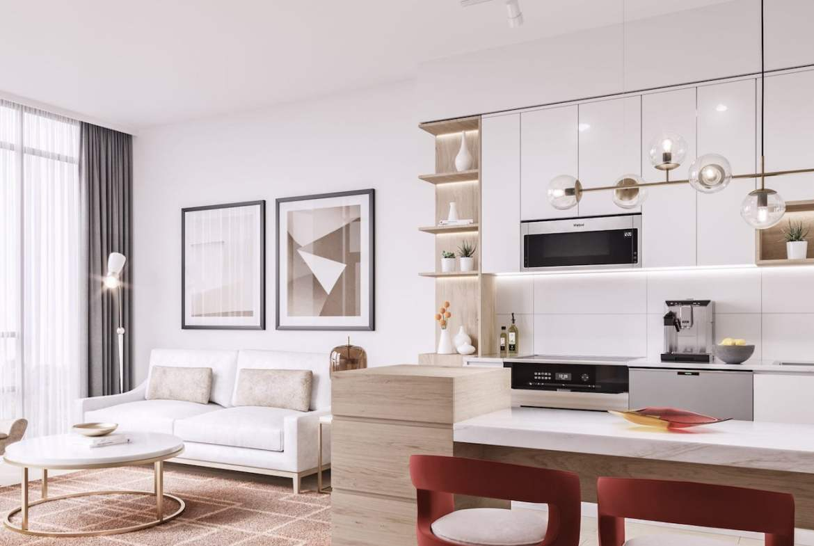 Rendering of Mondria Condos suite living room and kitchen