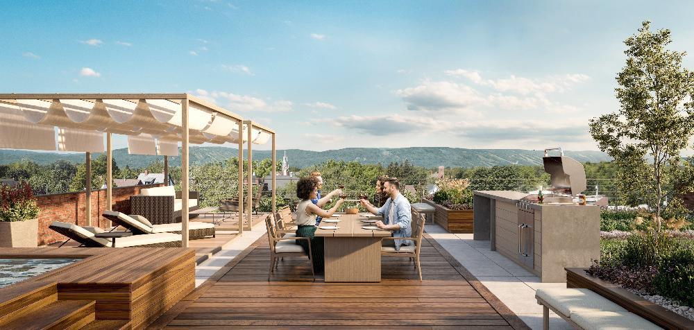 Rendering of The Regent Condos rooftop terrace