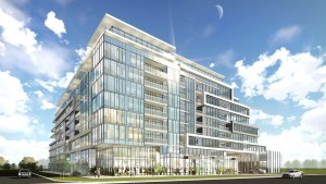 Exterior rendering of Union Square Condos in Markham