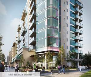 Rendering of The Theodore Condos building exterior with street-level retail in Kensington.