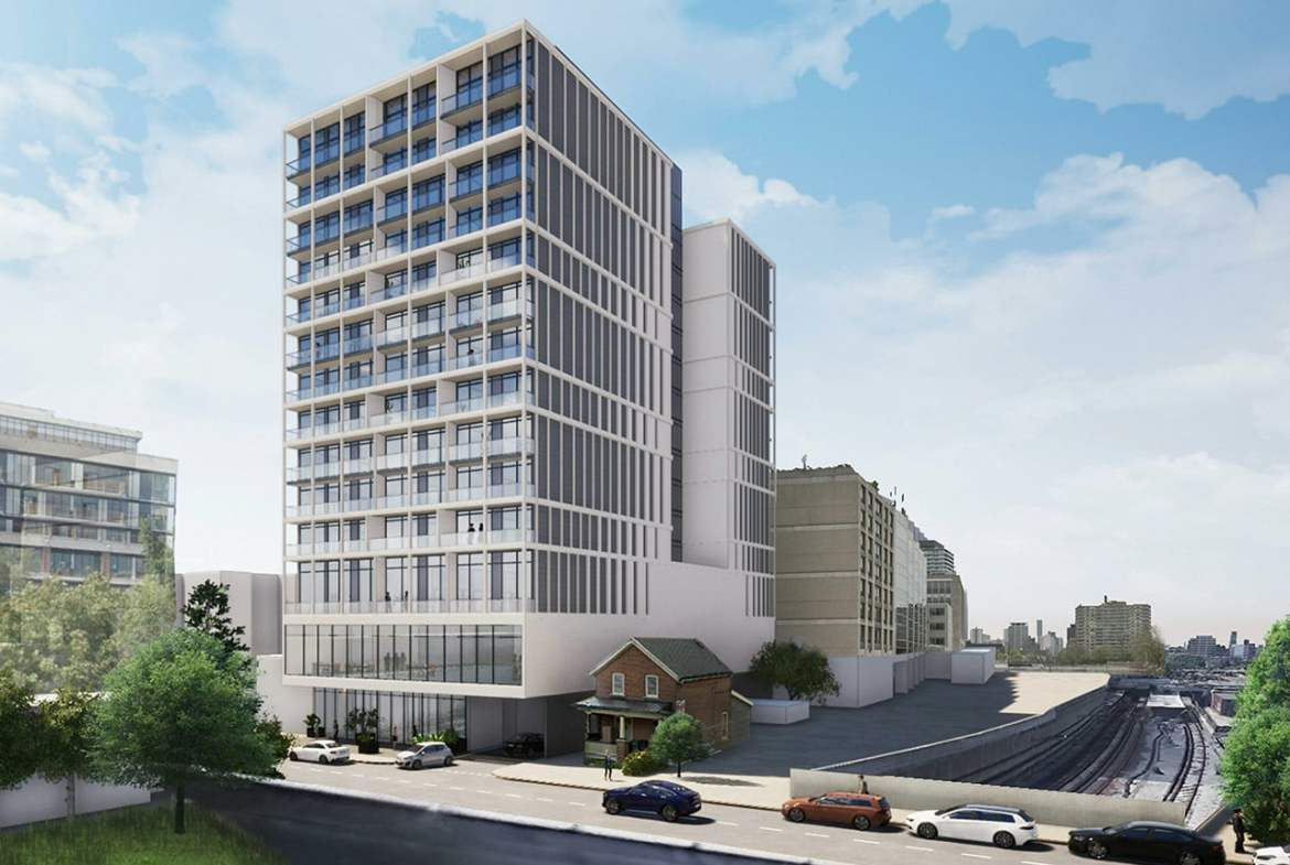 Rendering of 25 Imperial Condos exterior and streetscape