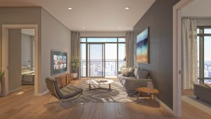 Rendering of 628 Saint-Jacques Condos interior living room and bedroom