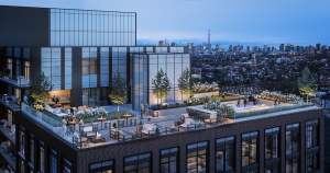 Rendering of House of Assembly Condos rooftop terrace at night