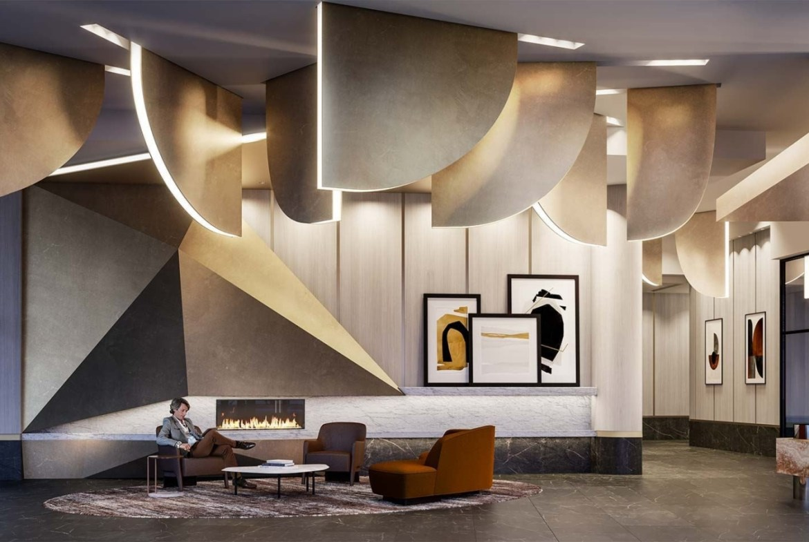 The Dupont Condos lobby with lounge