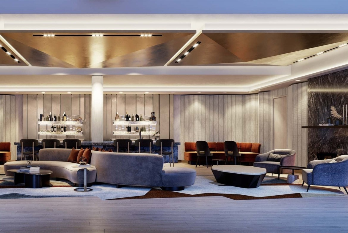 The Dupont Condos party room with fireplace
