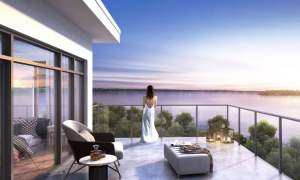 Rendering of Fenelon Lakes Club balcony view in the evening