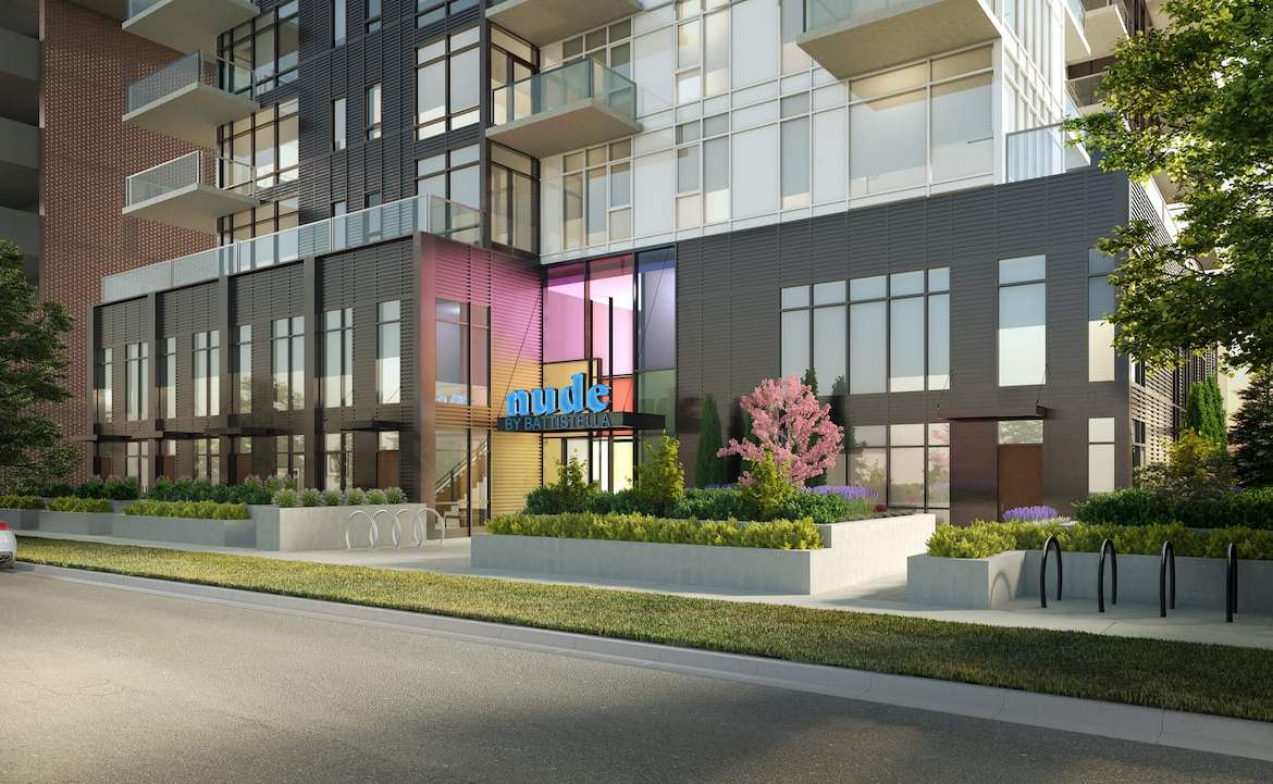 Rendering of NUDE by Battistella Condos exterior street view