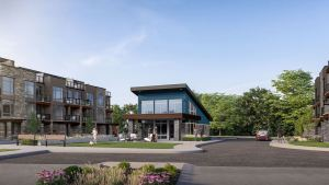 Rendering of Orillia Fresh Towns courtyard