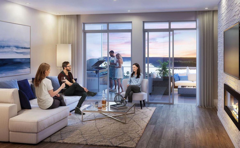 Rendering of Orillia Fresh Towns suite interior dusk