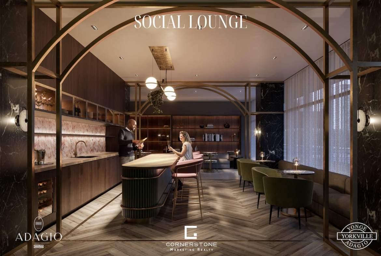 Rendering of Adagio Condos bar lounge