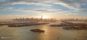 Rendering of Waldorf Astoria skyline at sunset