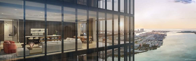 Rendering of Waldorf Astoria eagle view