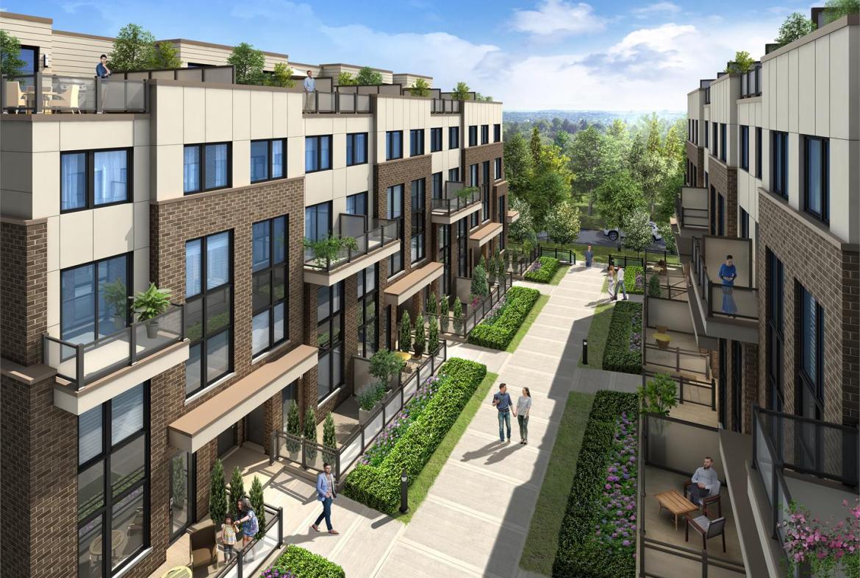 Courtyard rendering of Market District Urban Towns in Pickering