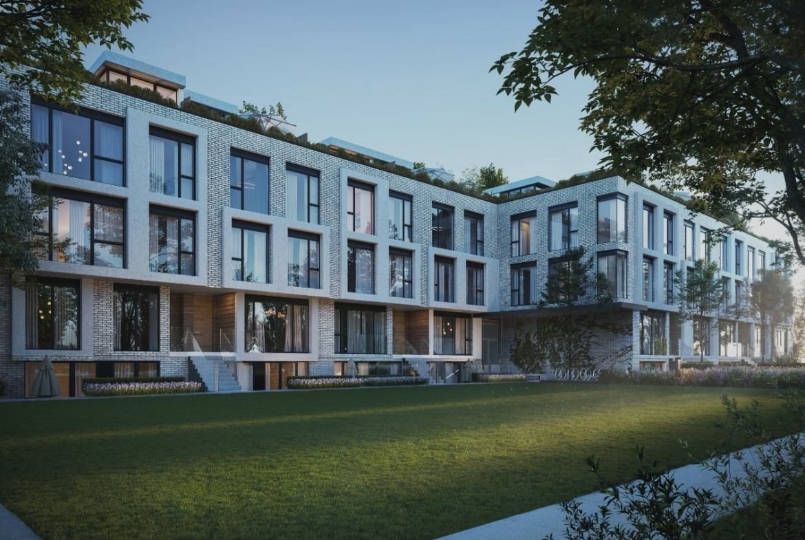 Exterior rendering of Residences on Keewatin Park Towns in the evening