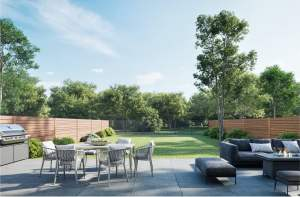 Exterior rendering of Residences on Keewatin Park Towns suite backyard with patio