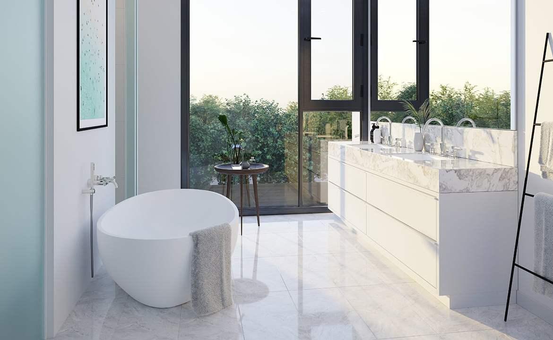 Rendering of Residences on Keewatin Park Towns suite interior bathroom